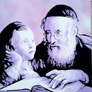 Tableau d'un homme religieux instruisant un enfant sur les textes sacrés