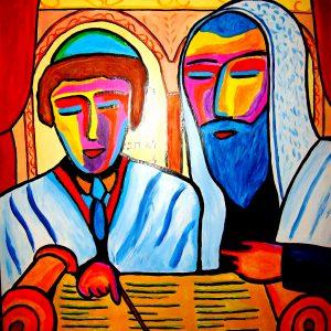 Tableau représentant une scène de Bar Mitzvah