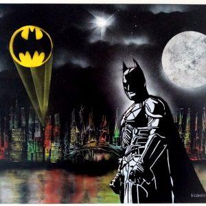 Tableau représenta Batman devant Gotham City