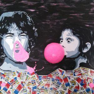 Tableau représentant deux enfants et bulles de chewing gum