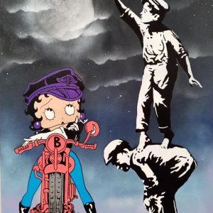 Tableau de Betty Boop et deux enfants