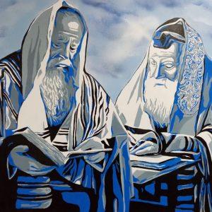 Tableau représentant deux hommes religieux étudiant la Torah