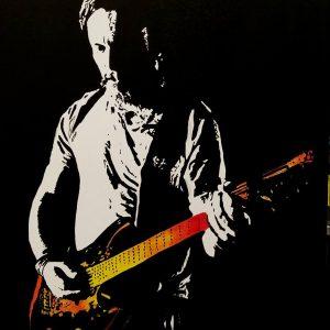Peinture de Florent Pagny avec une guitare