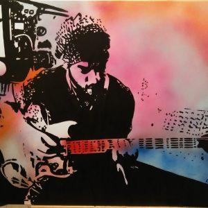 Tableau représentant Lenny Kravitz jouant de la guitare