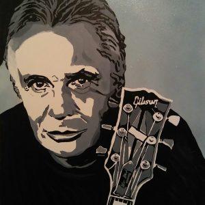 Portrait de Michel Sardou avec tête d'une guitare