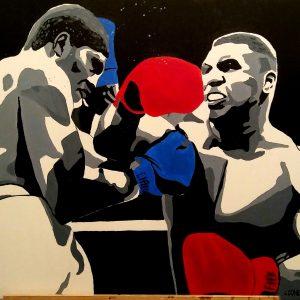 Tableau représentant Mike Tyson au combat