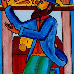 Peinture rabbin joyeux qui danse