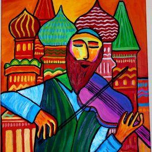Peinture représentant un rabbin violoniste à Moscou