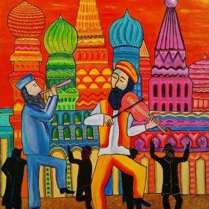Peinture scène simhat torah 2 musicien à Moscou