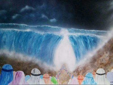 Tableau hébraïque traversée de la mer rouge