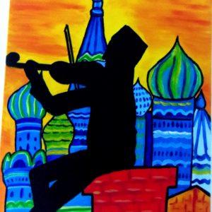 Peinture représentant un joueur de violon assis sur un toit à Moscou