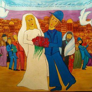 Scène d'un mariage d'un homme et d'une femme à Jerusalem