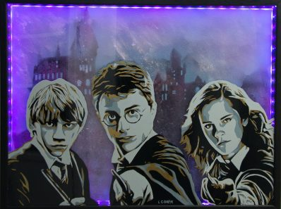 Tableau portrait Harry Potter, Hermione et Ron devant Poudlard