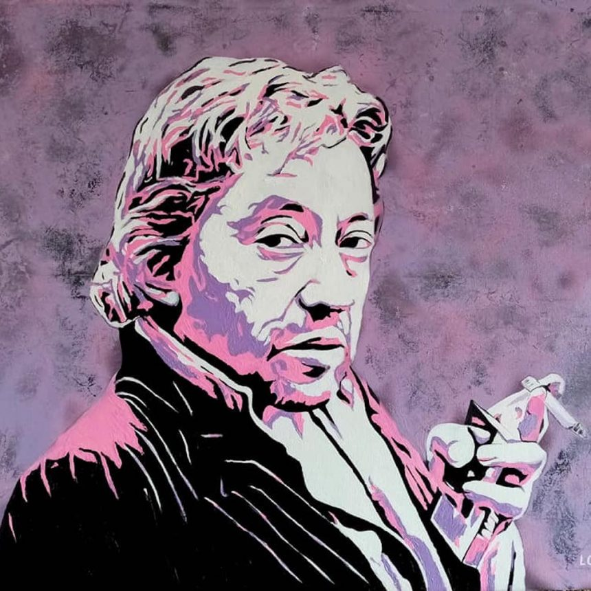 Portrait violet Serge Gainsbourg