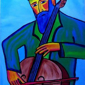 Peinture représentant un joueur de violoncelle