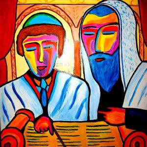 tableau représentant un garçon lisant la Torah lors de sa Bar Mitzvah