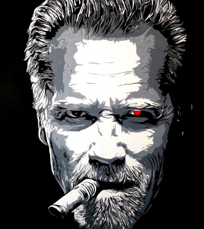 portrait de Schwarzy fumant un cigare avec oeil terminator